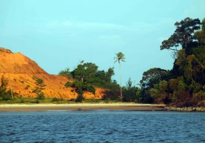A secluded beach on the shores of Santubong River