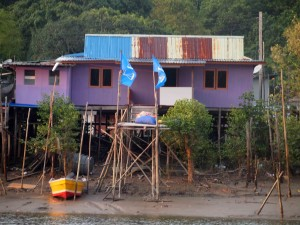 Local fishermen village along Santubong River
