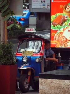 "Getting around Bangkok by ""tuk tuk"""