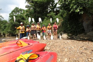 The group ready for some paddling
