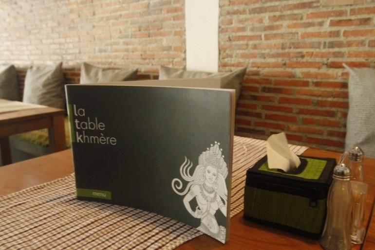 The elegant menu at La Table Khmere