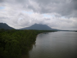 Mount Santubong crowned by clouds