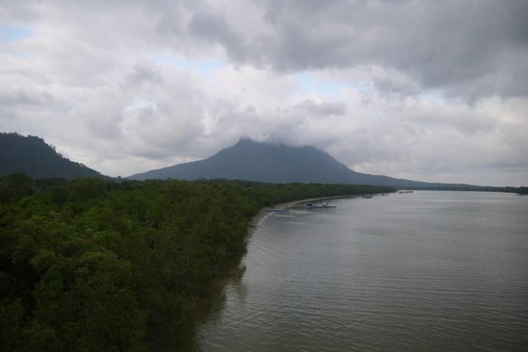 Mount Santubong crowned by clouds