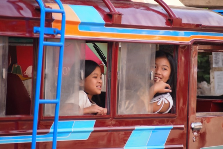 Sagada girls on a public transport