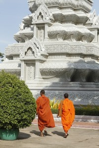 Monks at Phnom Penh Royal Palace