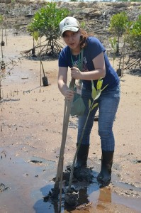 Noriko from Adventure Japan at the tree planting at Kuching Wetlands National Park