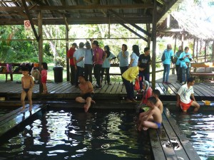People enjoying Panchor hotsprings
