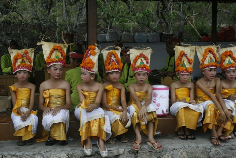 A group of girls dressed up for the ceremony