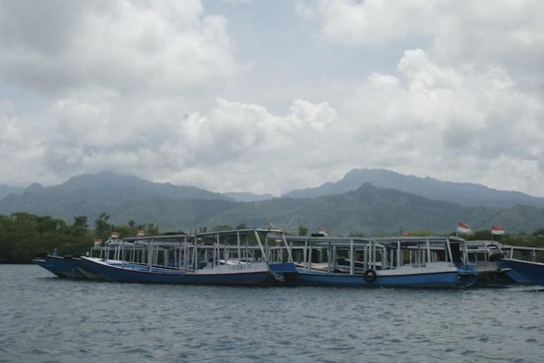 Boats mooring with Bali Barat National Park peaks behind