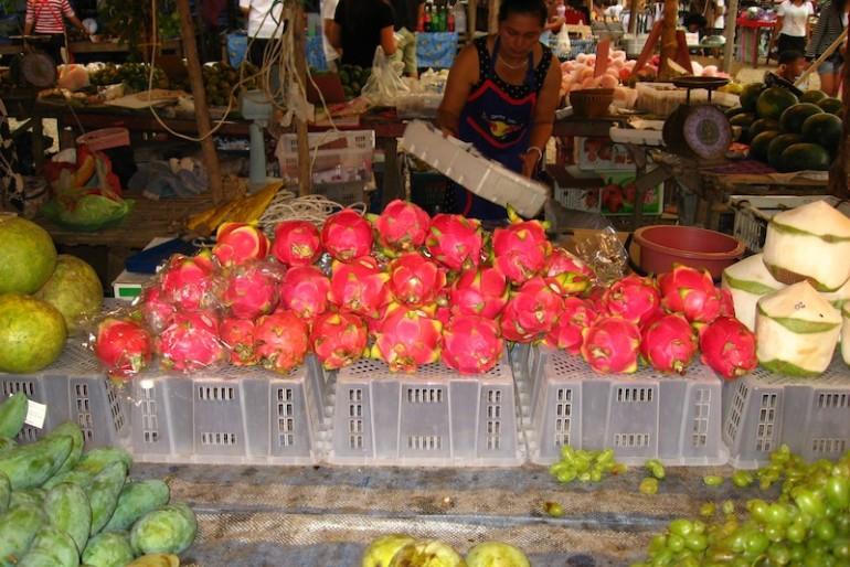 dragon fruits at a Thai local market