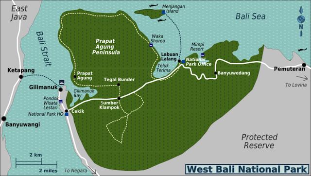 Bali Barat National Park map