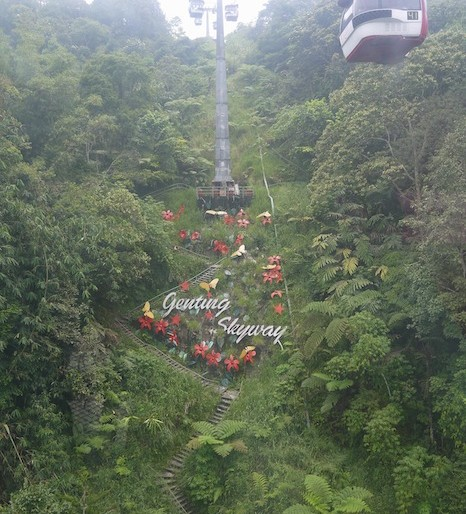 Upwards on the Genting Skyway cable car