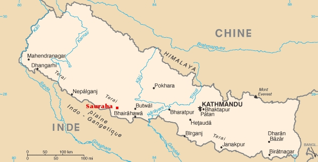 Nepal map to Sauraha