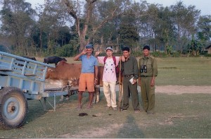 getting a lift by ox cart in chitwan