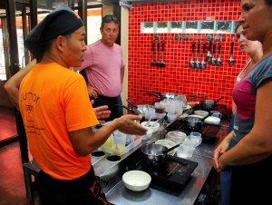 Explaining the ropes at Pum Cooking School