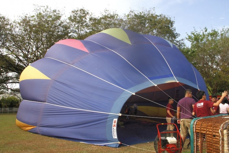 Cold air inflation at the Penang Hot Air Balloon Fiesta