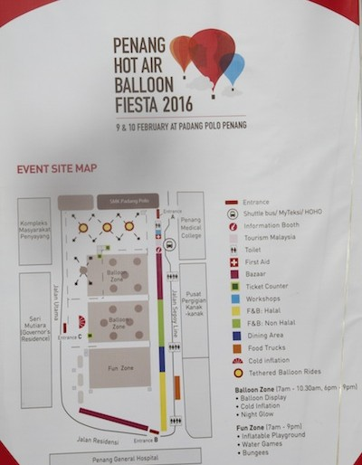 Map of grounds at Penang Hot Air Balloon Fiesta
