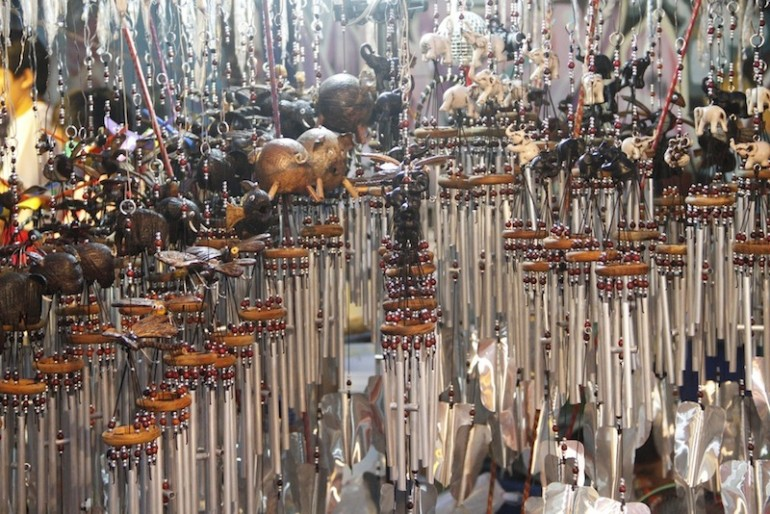 Wind chimes for sale in a stall in Walai Road