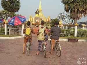 Asian Itinerary team visited Pha That Luang by bicycle.