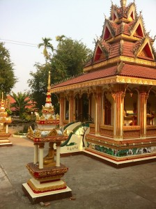 One of the temples at Pha That Luang grounds