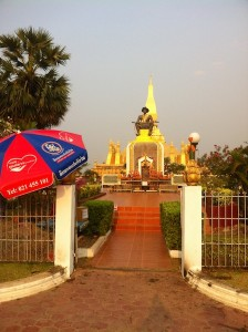 The statue of King Setthathirat, founder of Pha That Luang