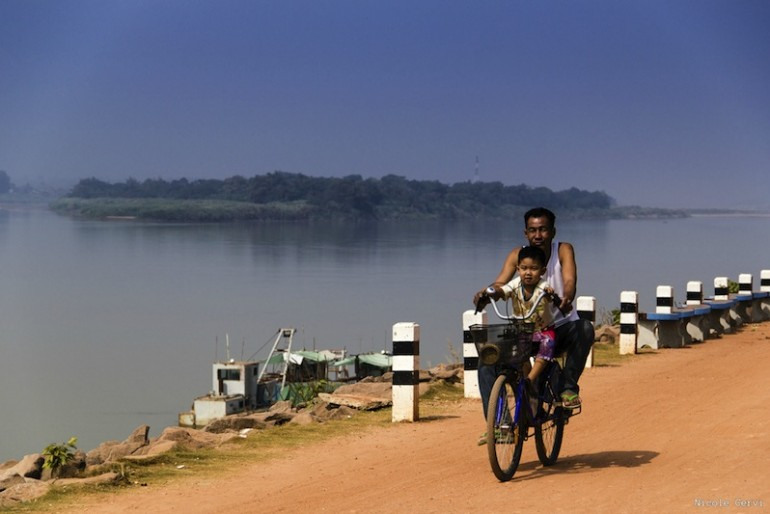 A local cycling along the river