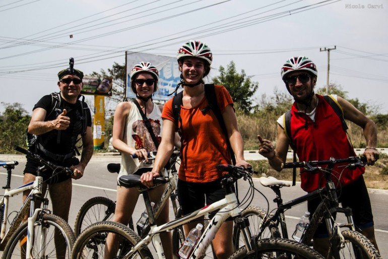 A great group on the Bicycle and kayak tour of Vientiane