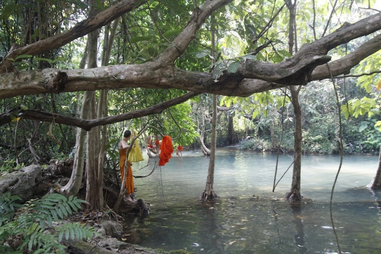 Monks bathing at the ponds