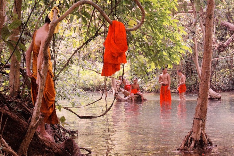Monks bathing