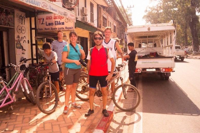 Getting our bikes ready in Vientiane