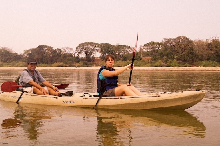 Boontha and Nicole looking cool along the Mekong
