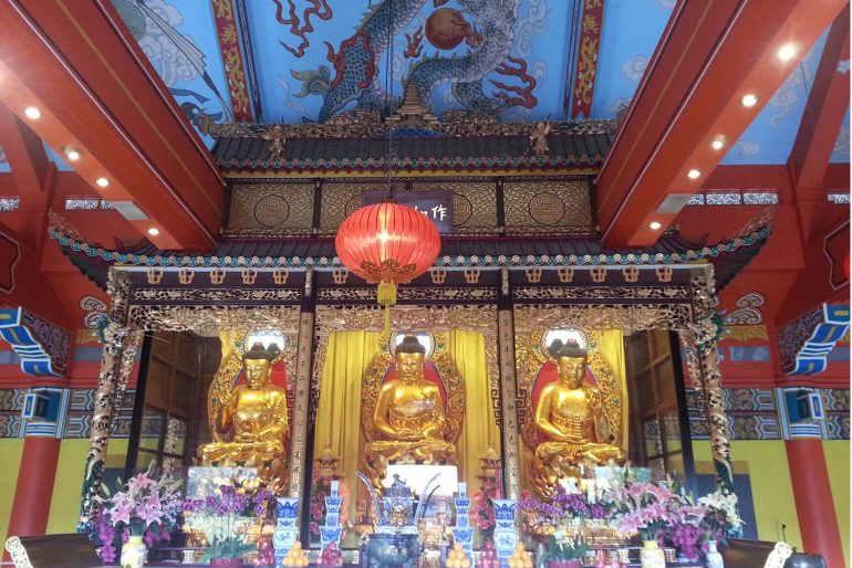 Po Lin The Three Buddha Statues inside Po Lin Monastery at Lantua Island in Hong Kong