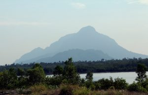 Mount Santubong from the distance
