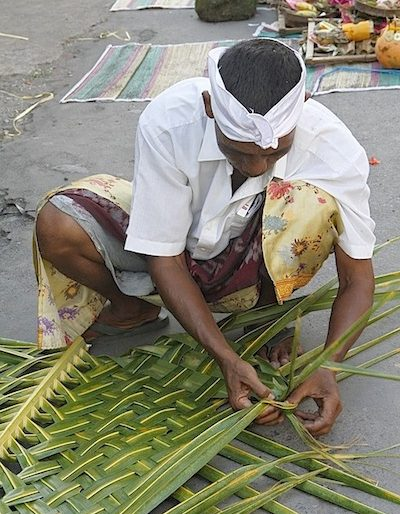 Preparing palm fronds trays for the offerings