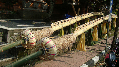 Penjor posts being made