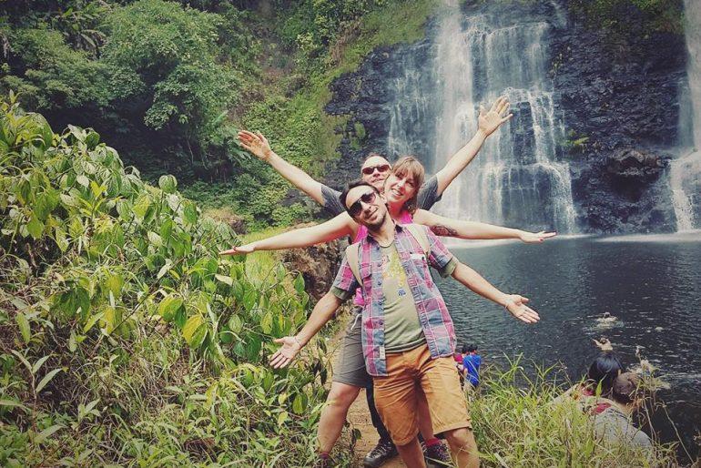 'Vetruvian man' human composition at Tad Yuang waterfalls