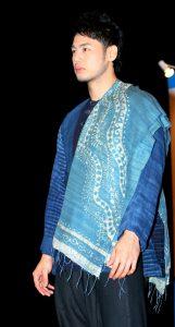 indigo batik shawl shirt