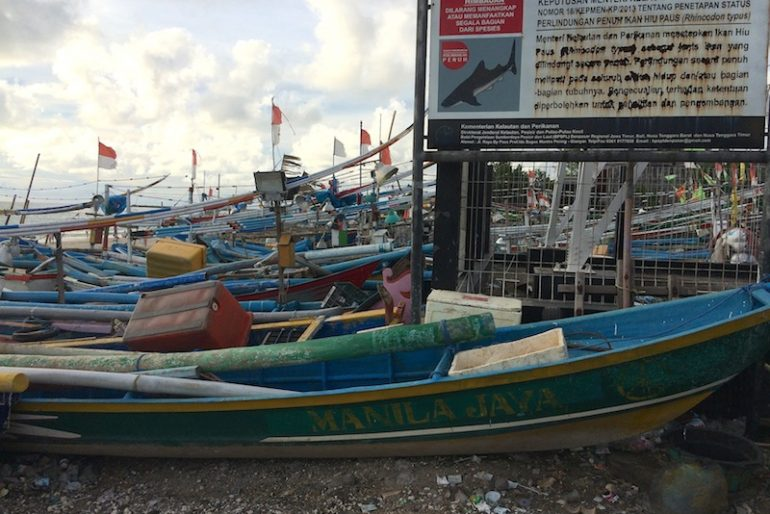 Fishermen boats at Jimbaran fish market