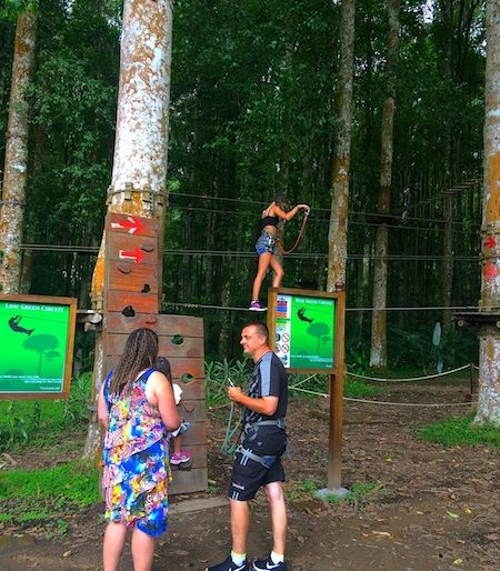 A family enjoying the activities at Bali Treetop