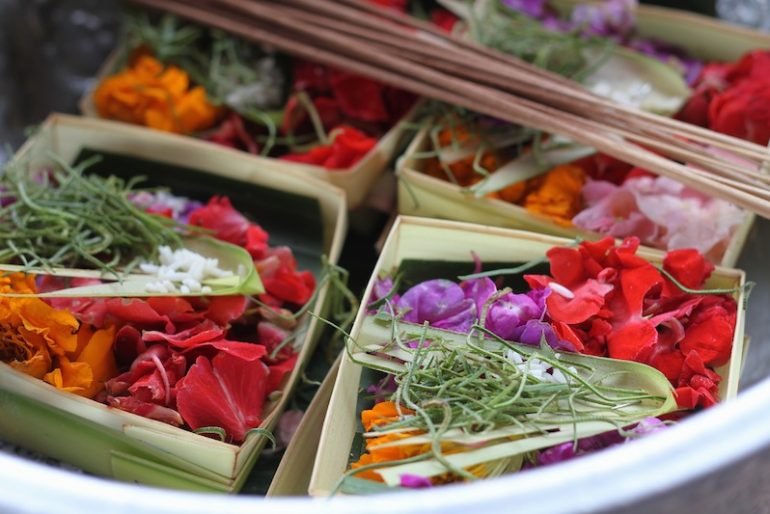 Flower compositions for Bali offerings