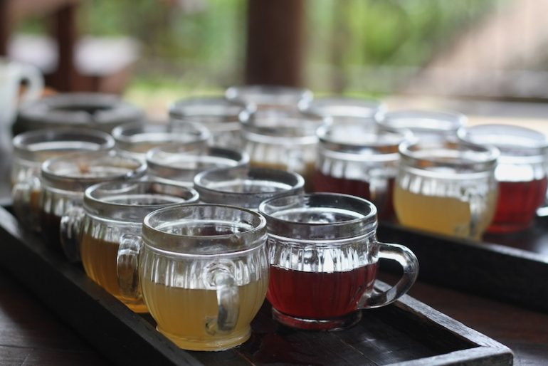 A generous tasting of several tea and coffees