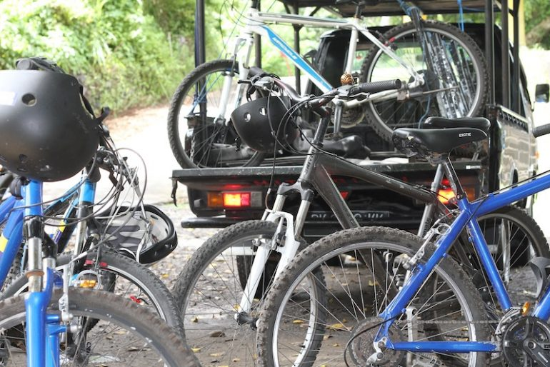 Our support car collecting the bikes at the end of tour