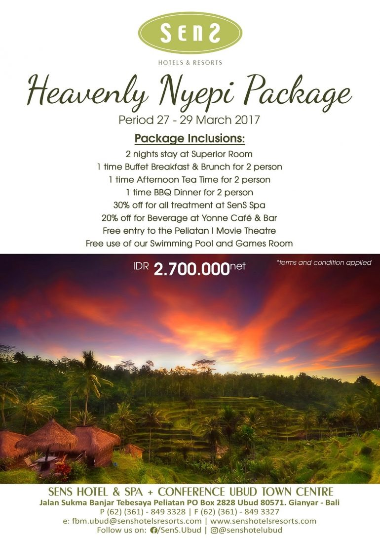 Nyepi package at Sens Hotels & Resorts Ubud