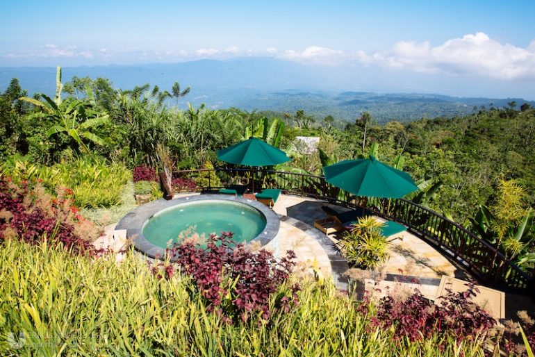 View over Bali mountains and jacuzzi