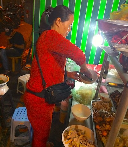 Woman preparing my Bun Mien