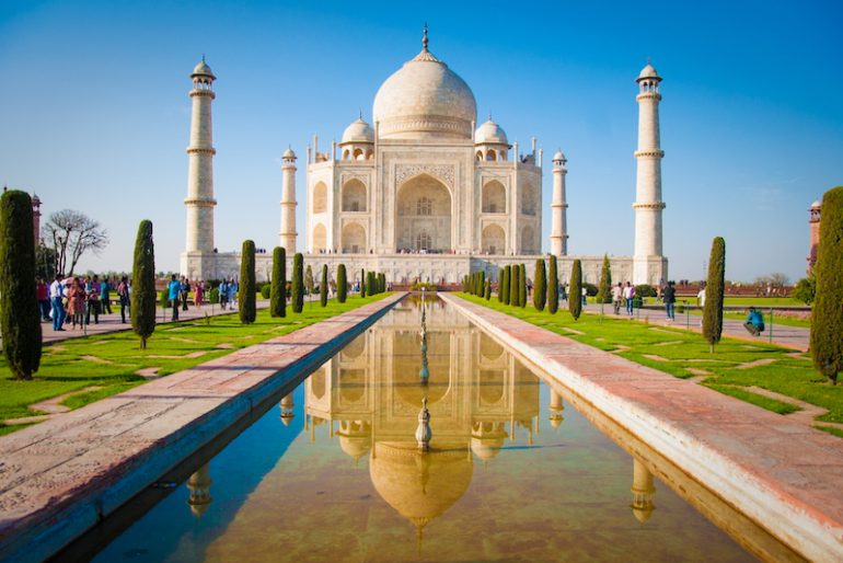 1 Taj Mahal on a bright and clear day, India