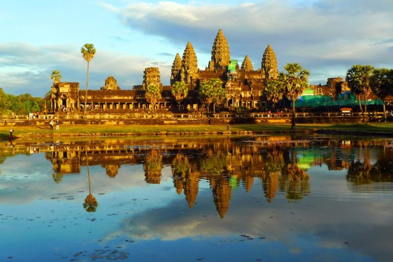 2 Angkor Wat and reflecting pool at sunset, Siem Reap, Cambodia