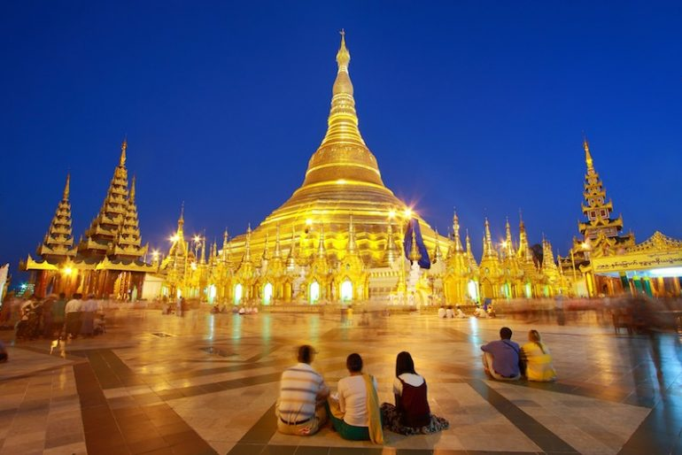 3 Atmosphere of dusk at Shwedagon pagoda in Yangon, Myanmar
