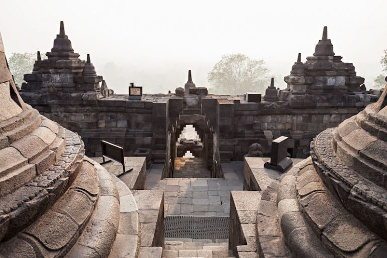 4 Stupas in Borobudur Temple, Central Java, Indonesia