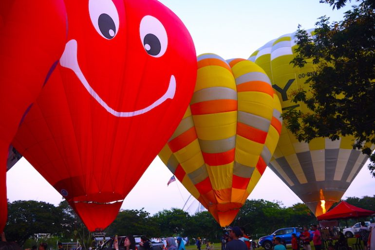 Colourful hot air balloons at the event